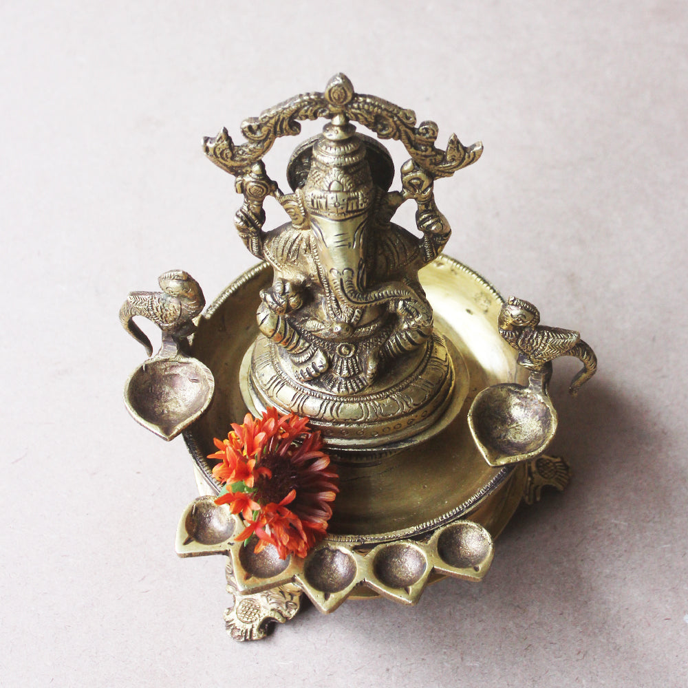 Traditional Gaja Ganesha Vilakku Oil Lamp Handcrafted With Parrots & 7 Diyas- Ht 22 cm x W 18 cm x Dia 14 cm