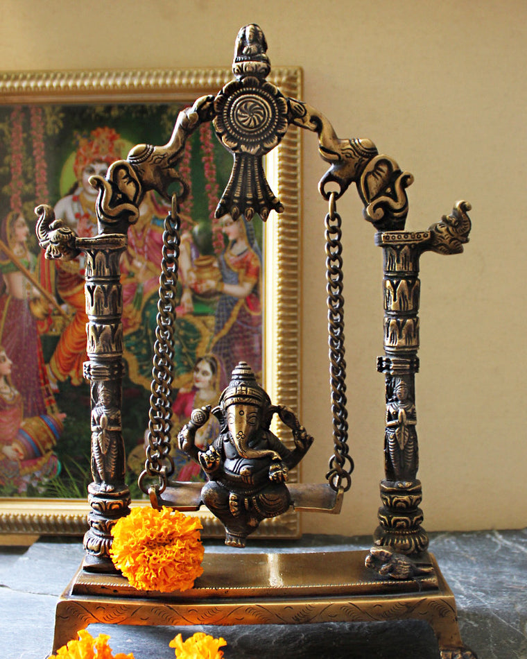 Hindu Elephant God Ganesha On Vintage Brass Swing With Elephants & Yali - H 33 cm x W 22 cm - theindianweave