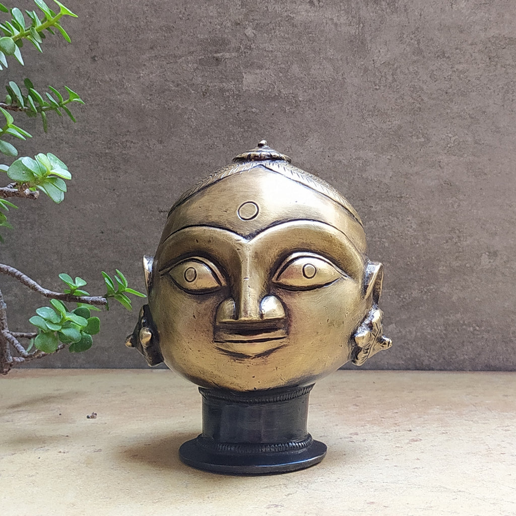 Vintage Brass Face of Gangaur Gauri - Indian Goddess of Fertility, Love & Devotion . H 15 cm x W 13 cm