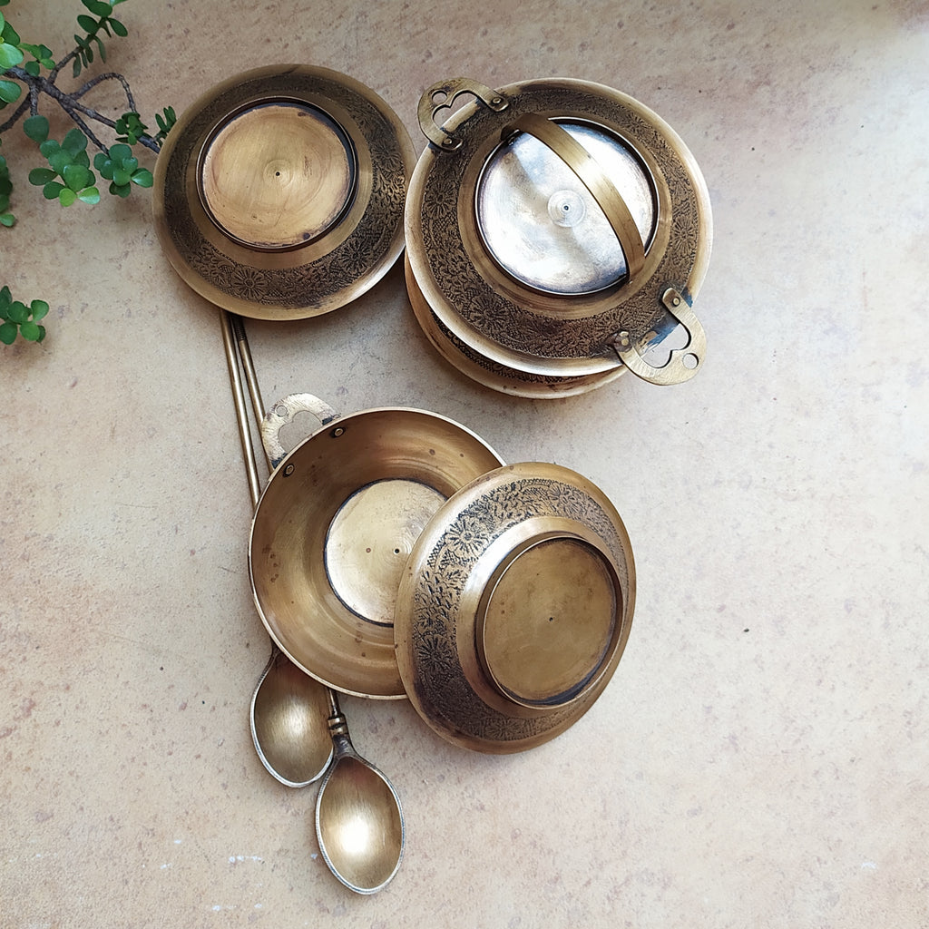 Exquisite 4 Compartment Brass Tiffin With 2 Spoons & Floral Engraving - 35 cm Tall