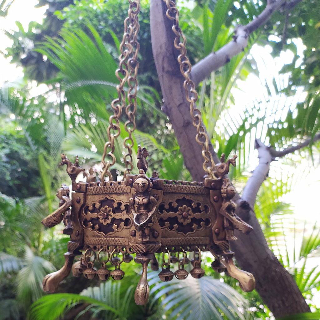 Vintage Hexagonal Hanging Brass Planter With Oil Lamps & Peacocks - Length 80 cm x Dia 16 cm