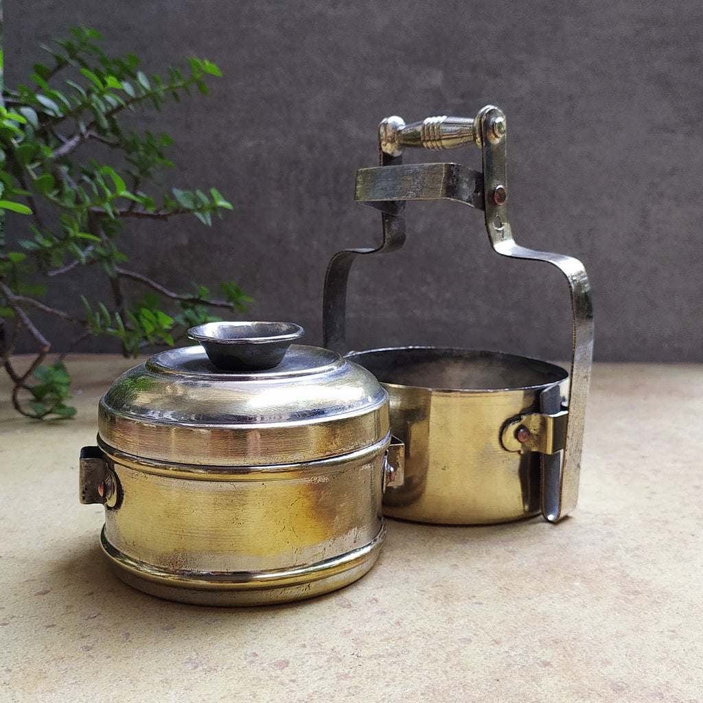 Vintage Brass Lunch Tiffin Box With 2 Containers From Western India - Height 18 cm x Dia 9 cm