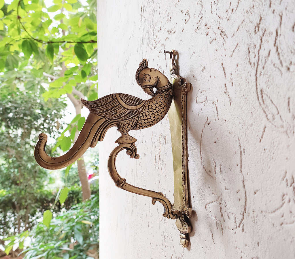 Pair of Ornate Hand Crafted Parrot Design Brass Wall Hooks - L 23 cm x W 8 cm x D 16 cm