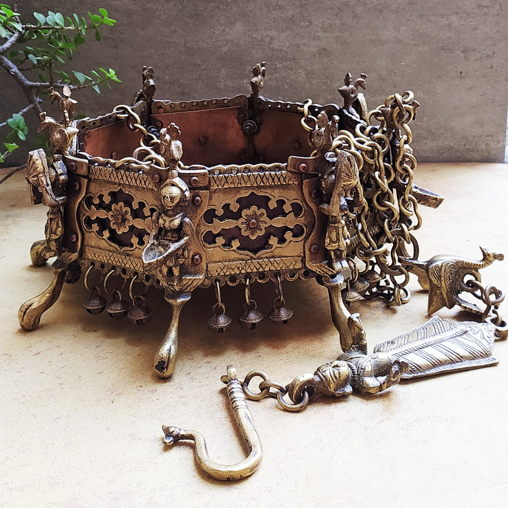 Vintage Octagonal Hanging Brass Planter With Oil Lamps & Peacocks - Length 80 cm x Dia 21 cm