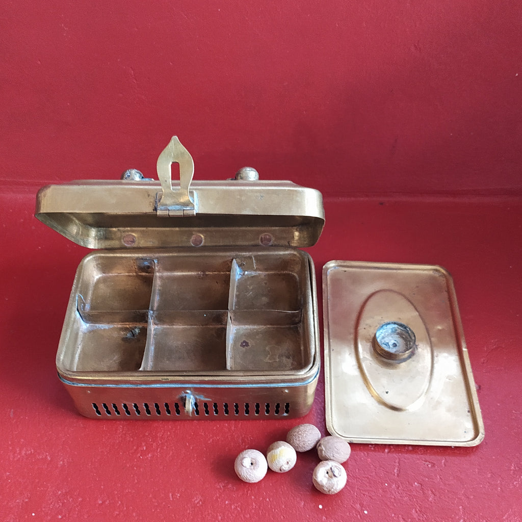 Traditional Brass Paan Dan | Beetle Nut Box With 7 Compartments. L 16 cm x W 11 x Ht 7.5 cm