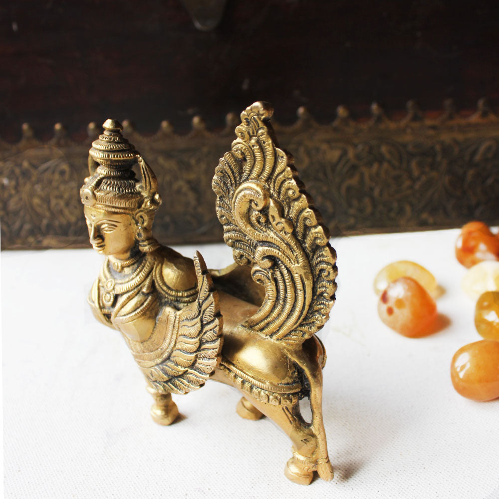 Kamadhenu - The Fragrant One And Mother goddess of The Indian Cow. Size H 14 cm x L 12 cm x W 5 cm - theindianweave