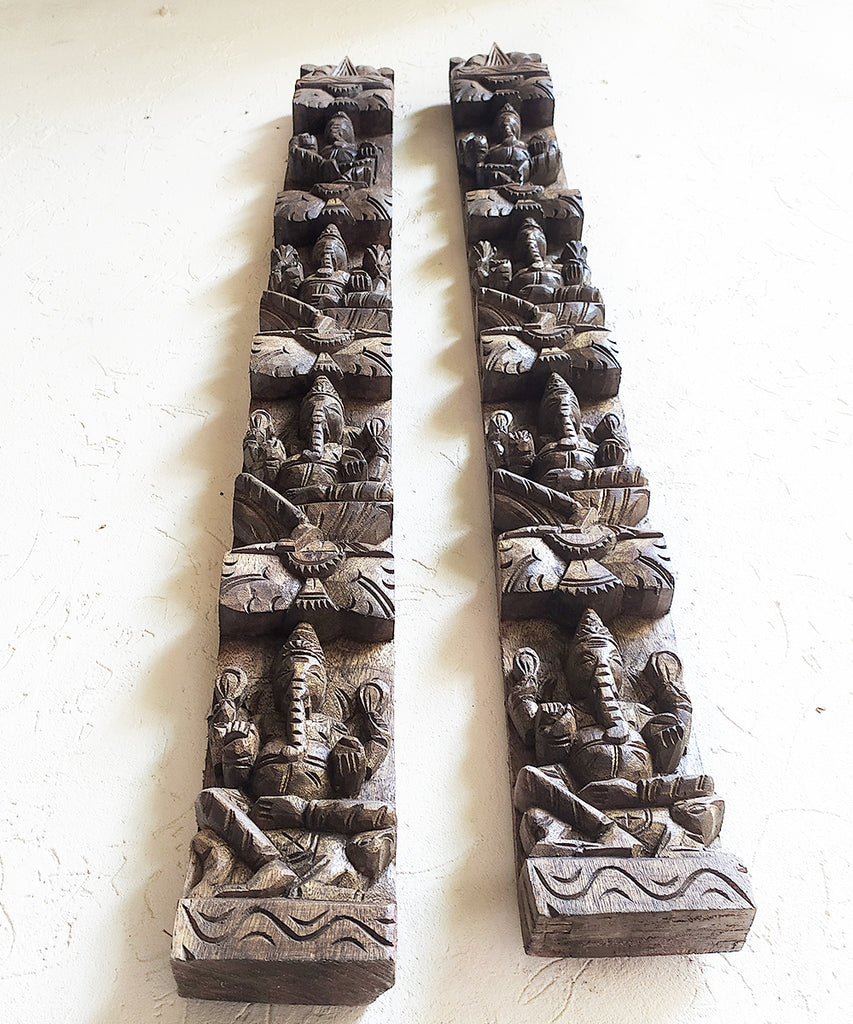 Pair of Handcrafted Ashtaganesh Wooden Panels With Lord Ganesha & His 8 Manifestations.Ht 92 cm x W 10 cm