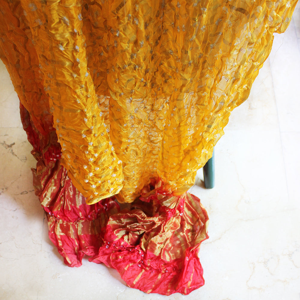 Festive Ochre Yellow & Red Jaipuri Bandhej Silk Dupatta | Scarf With Gold Border. L 230 cm x W 110 cm