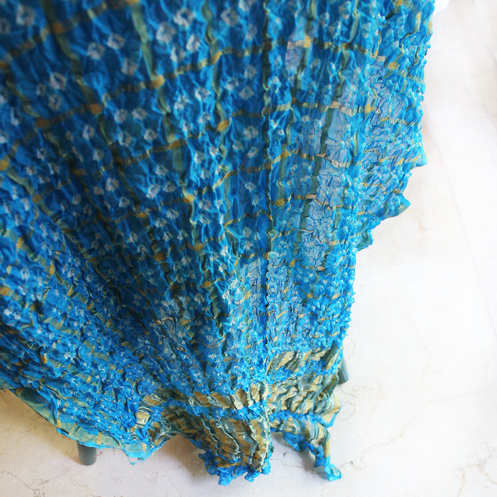 Sky Blue Jaipuri Bandhej Silk Dupatta | Scarf With Gold Border. L 230 cm x W 110 cm