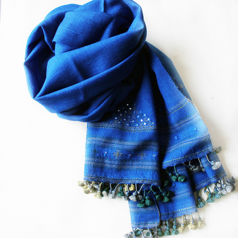 Royal Blue Handwoven Woollen Scarf With Mirror Work From Kutch, Gujarat - 198 cm x 76 cm