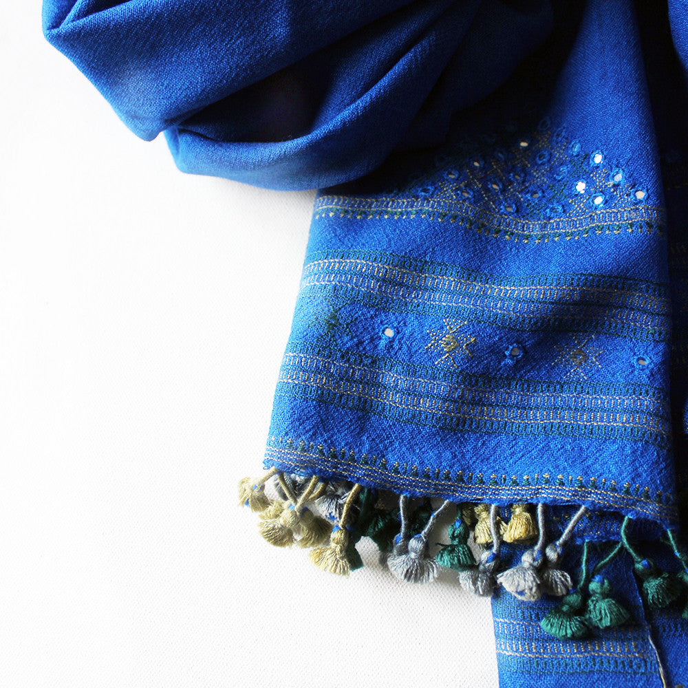 Royal Blue Handwoven Woollen Scarf With Mirror Work From Kutch, Gujarat - 198 cm x 76 cm - theindianweave