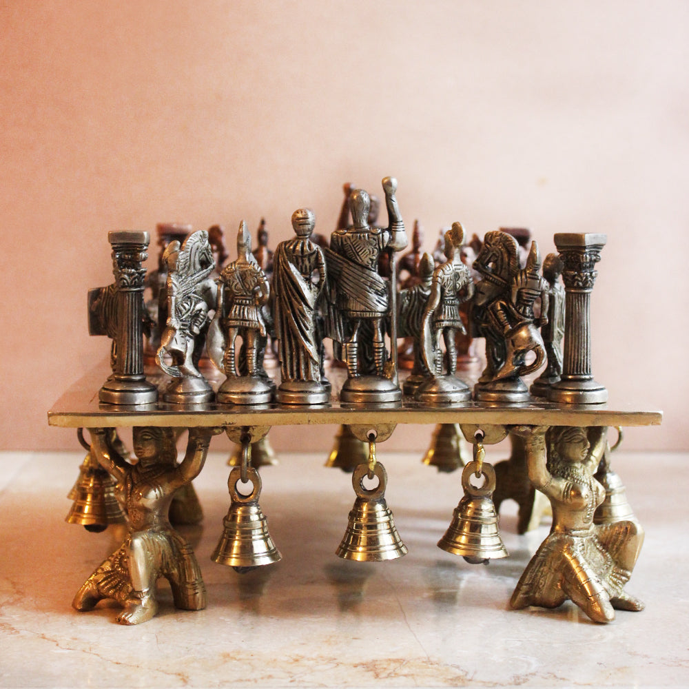 Majestic Brass Chess Board With Roman Chess Men - L 24 cm x W 24 cm x Ht 9 cm