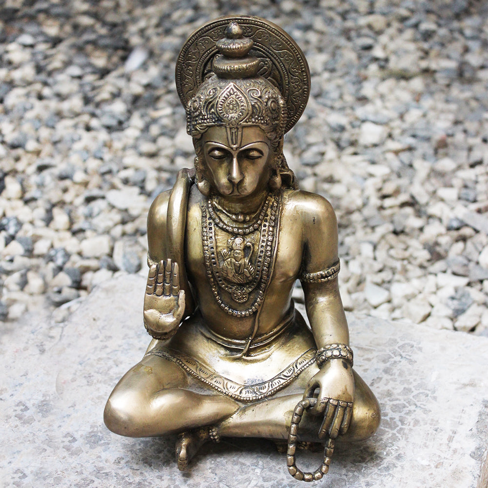 Vintage Brass Sculpture of Hanuman - Devotee of Lord Rama. Ht 30 cm x W 20 cm x D 15 cm
