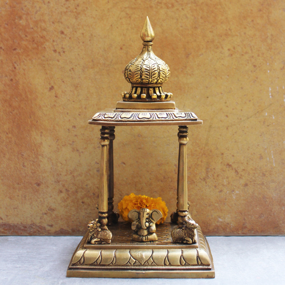 Vintage Brass Mandir | Temple With Nandi - Home To The Gods. Height 35 cm x W 19 cm