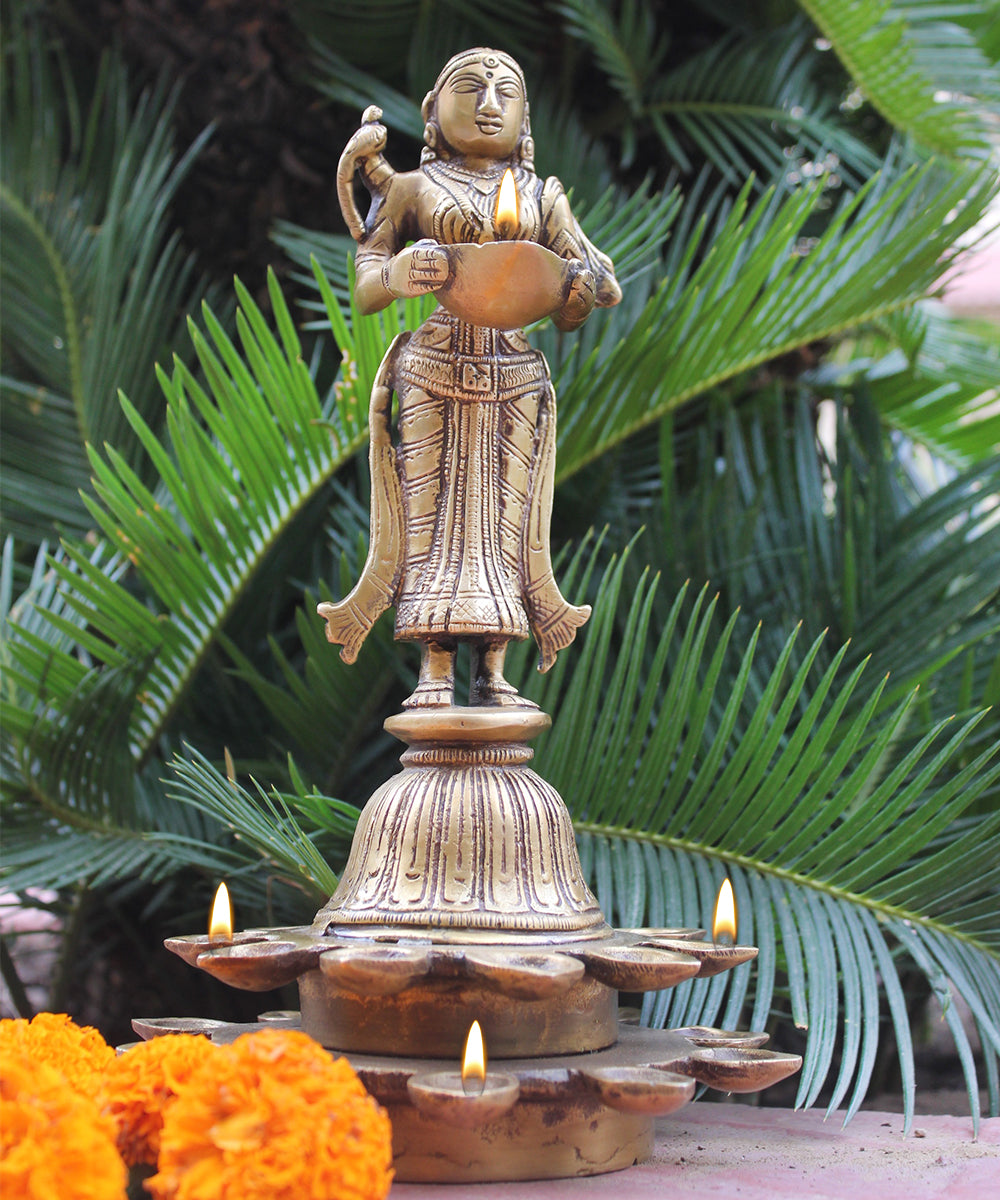 Indian Goddess Meenakshi - Avatar Of Goddess Parvati -  28 cm Tall Brass Sculpture With 21 Diyas | Oil Lamps - theindianweave