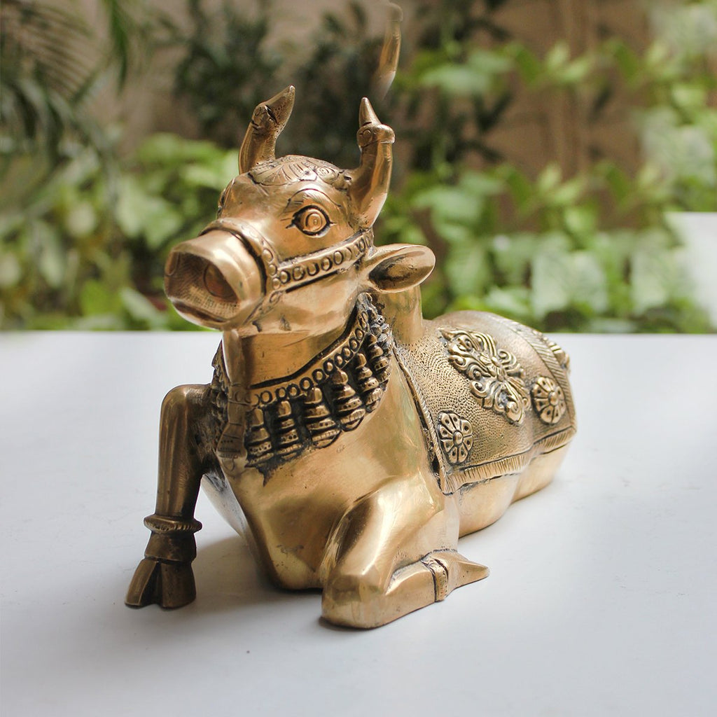 Handcrafted Brass Nandi - Vahan | Vehicle Of Lord Shiva. Length 28 cm x Height 19 cm
