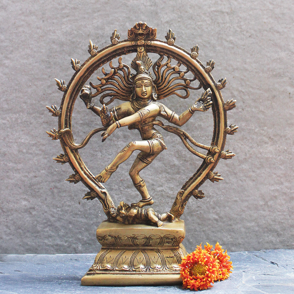 Magnificent Oval Brass Sculpture of Lord Shiva As Dancing Natraja. Ht 33 cm x W 25 cm