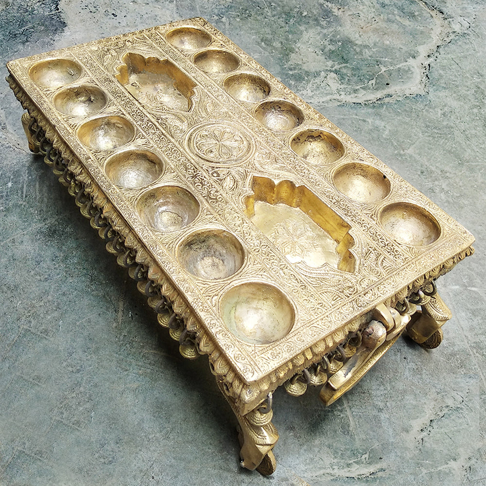 Exquisite Brass Pallanghuzi Board Mind Game With 14 Pits Handcrafted In South Of India - L 14 x W 7.5 x H 4.5 Inches
