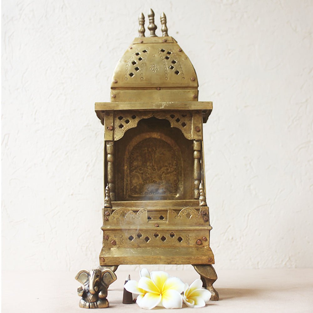 Vintage Handcrafted Brass Temple - Home To The Gods. Height 40 cm