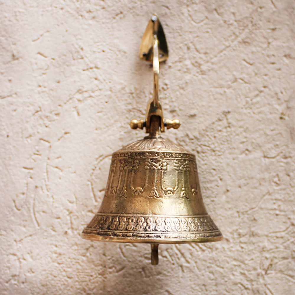 Wall Mounted Buddhist Brass Temple Bell with Traditional Engraving And Pure Sound- Ht 10 cm x Dia 10 cm