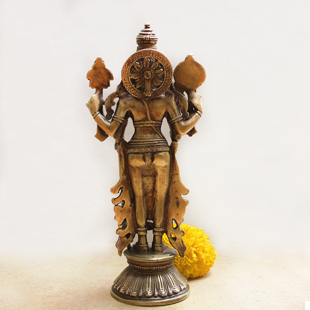Magnificent 32 cm Tall Brass Sculpture Of Lord Vishnu - Protector Of The World
