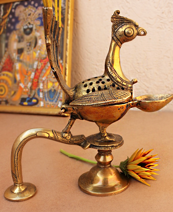 Hand Held Vintage Peacock Brass Prayer | Arti Lamp - 20 cm Tall