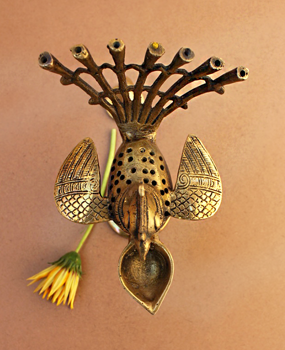 Hand Held Vintage Peacock Brass Prayer | Arti Lamp - 20 cm Tall - theindianweave