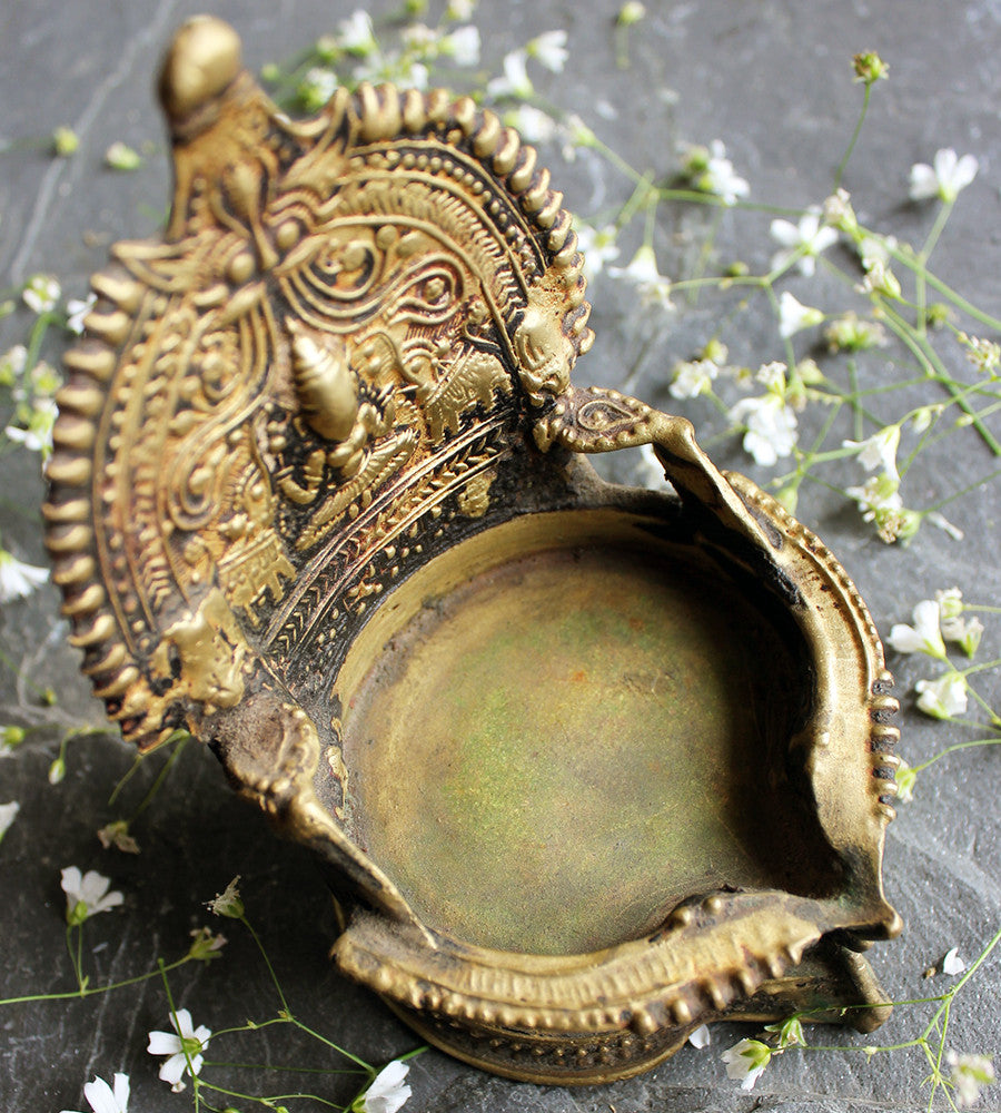 Brass Kamakshi Vilakku -  Divine Lamp or Deepam of Devi Kamakshi, Goddess of Knowledge and Prosperity - theindianweave