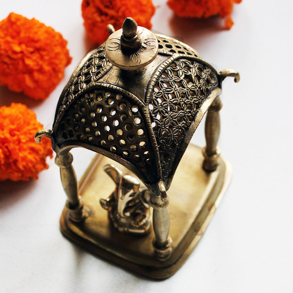 Brass Jharoka or Temple - Home To The Gods - 17x10x9 cms - theindianweave
