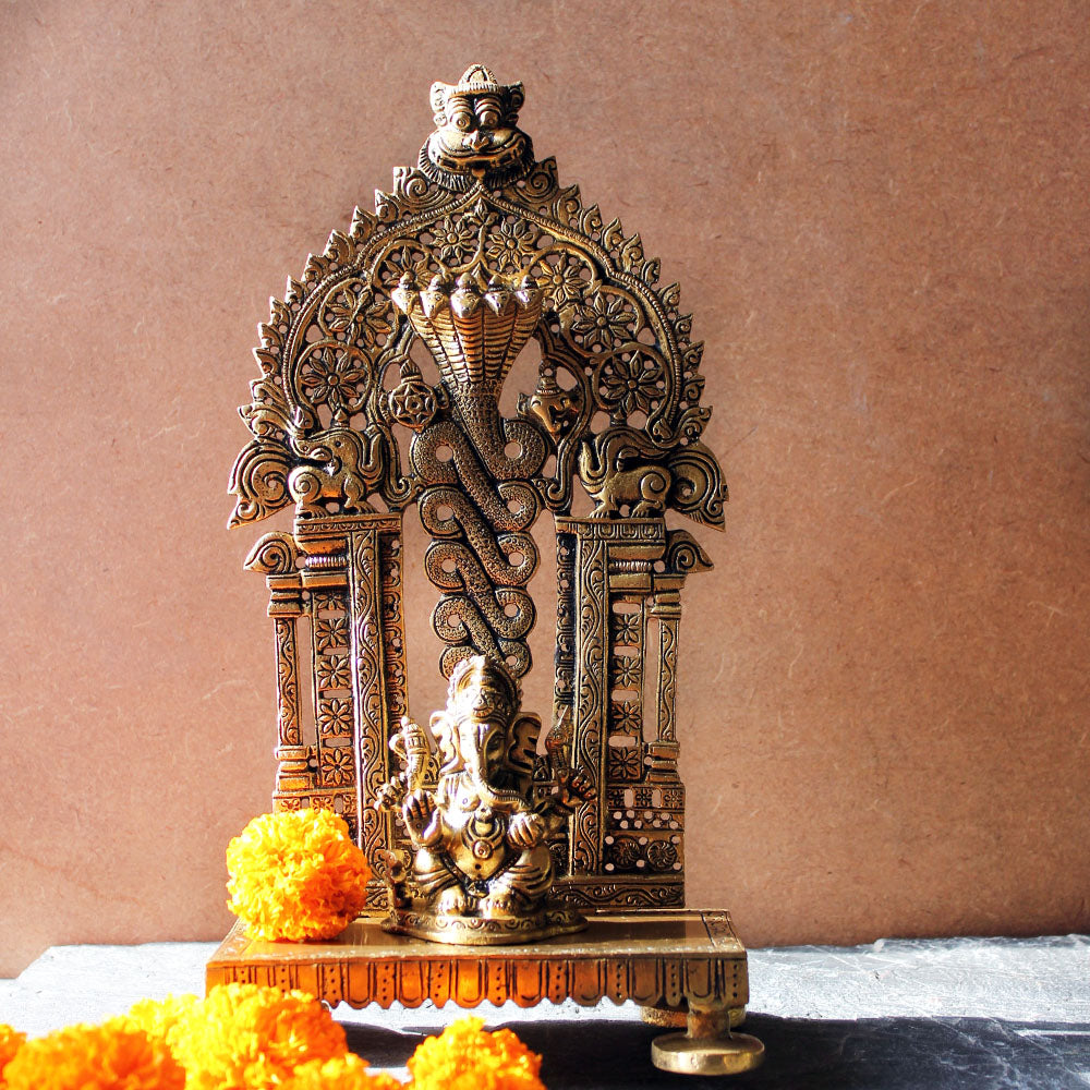 Vintage Brass Throne With An Exquisite Temple Frame For The Hindu Gods  -  H 26 cm x W 14 cm - theindianweave