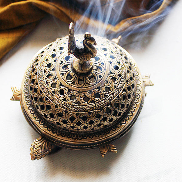 Handcrafted Brass Peacock Incense Burner On a 3 legged Tortoise Stand - theindianweave