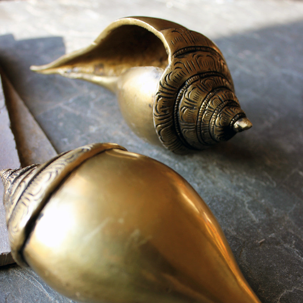 Brass Shankha or Conch - Sacred Emblem of The Indian God Vishnu - 16 cm Length - theindianweave