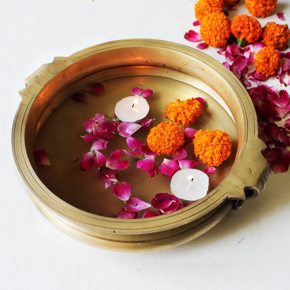 Traditional Brass Urli For Floating Flowers & Candles | Diyas - Diameter 24 cm x Height 8 cm - theindianweave