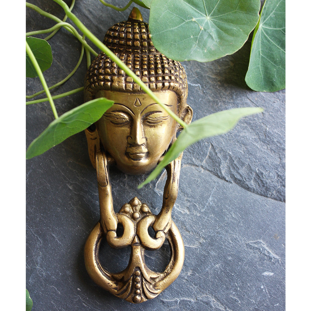 Majestic Buddha Face Brass Door Knocker - theindianweave