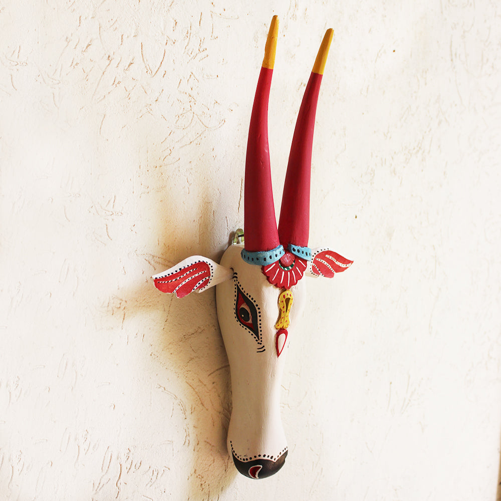 Wooden Nandi Bull | Cow Head Painted In Hot Pink & White  - Ht 46 cm x W 27 cm x D 7 cm