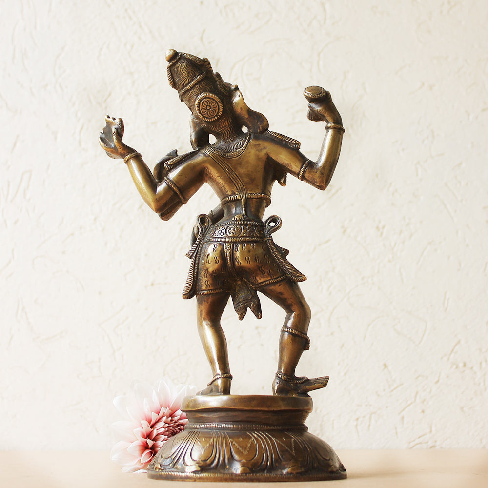Vintage Brass Sculpture of Lord Shiva as Dancing Natraja - Third God of Hindus. Ht 28 cm x W 17 cm