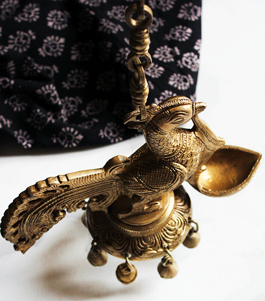 The Dancing Brass Peacock Oi Lamp With Brass Ghungroos | Bells - Length 72 cm