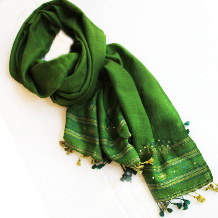 Mehndi Green Hand Embroidered Pure Wool Scarf | Stole With Mirror work From Kutch - 6.5 ft x 2 ft