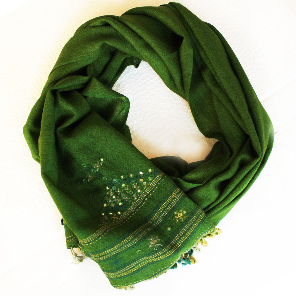 Mehndi Green Handwoven Woollen Scarf With Mirror Work From Kutch, Gujarat - 198 cm x 76 cm