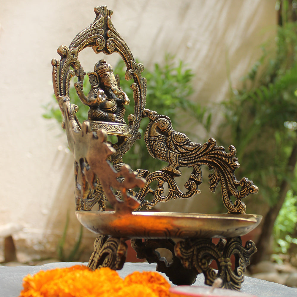 Majestic Brass Oil Lamp With Lord Ganesha & Twin Peacocks - Height 29 cm x Width 18 cm