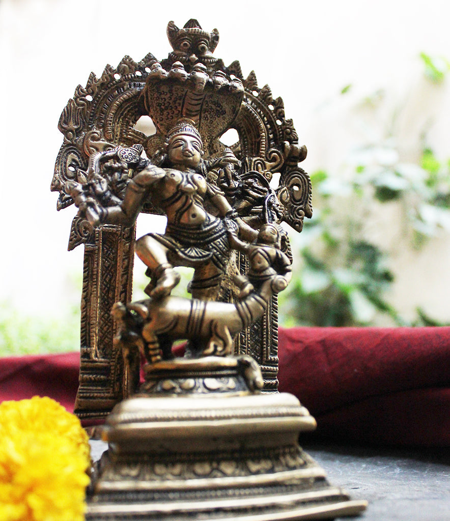 Durga - Warrior Goddess. Protector of Peace & Prosperity - Height 21 cm x Width 11.5 cm - theindianweave
