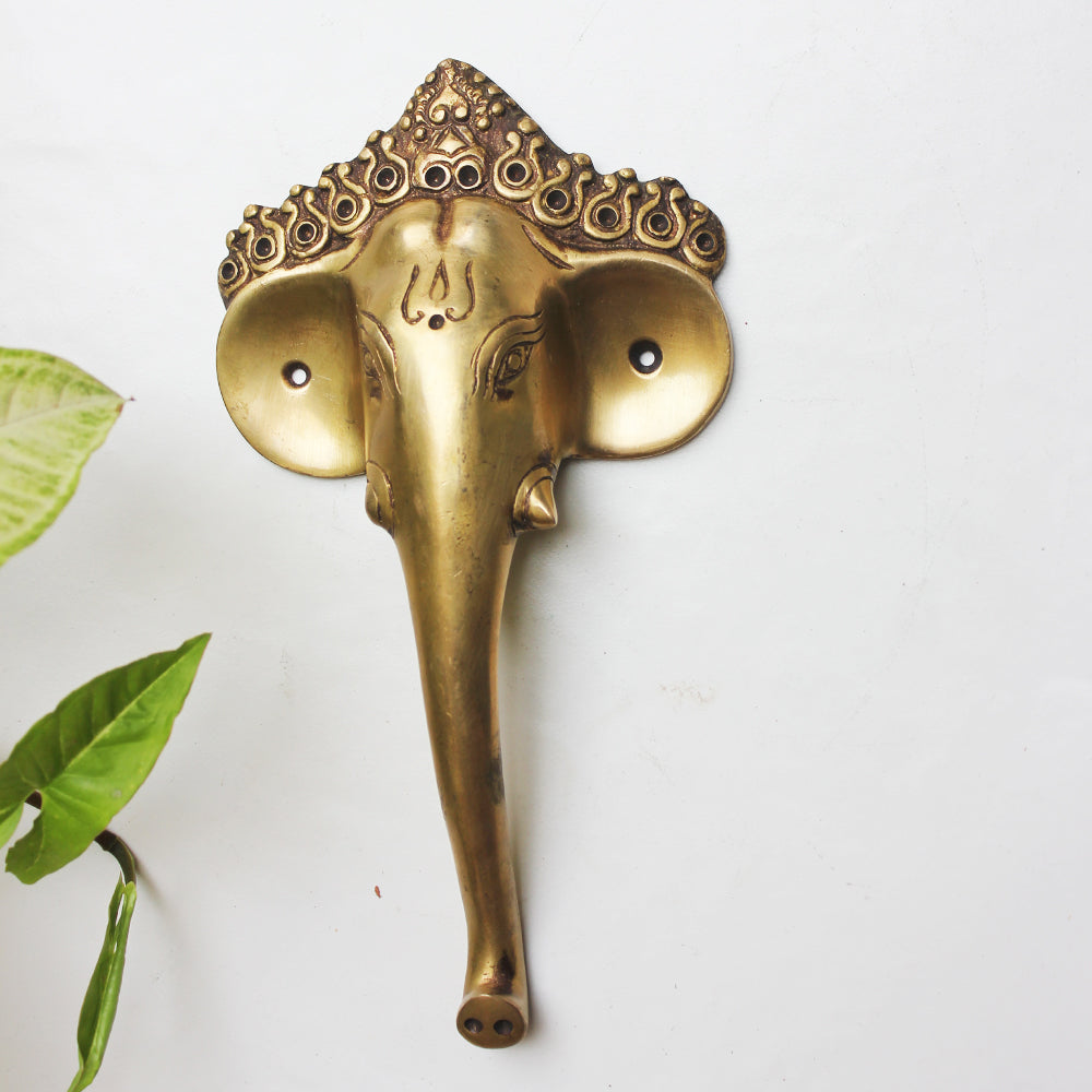 Elephant Head & Trunk Door Handle Handcrafted In Brass - Length 24 cm x Width 13 cm