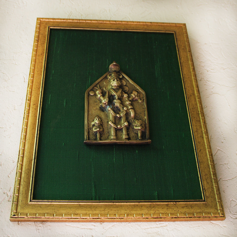 Vintage Brass Plaque of Lord Shiva | Shiva Mukhalingam Framed On Green Raw Silk - H 40 cm x W 30 cm