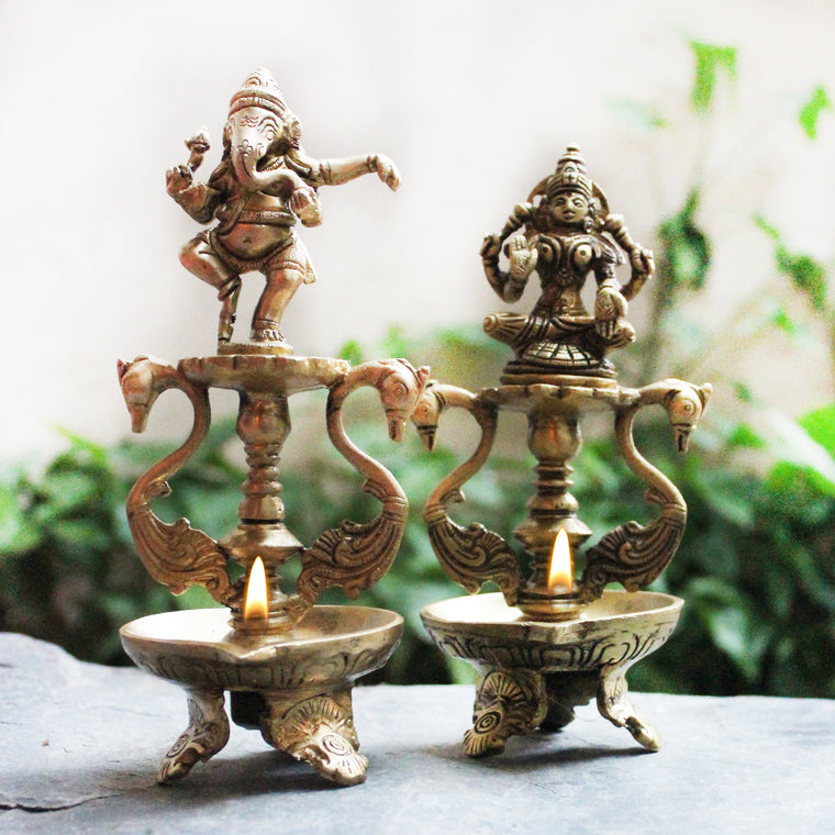 Set of 2 Hand Crafted Oil Lamps Of Hindu Deities Lord Ganesha and Goddess Lakshmi - Each 20 cm Tall x Dia 9 cm
