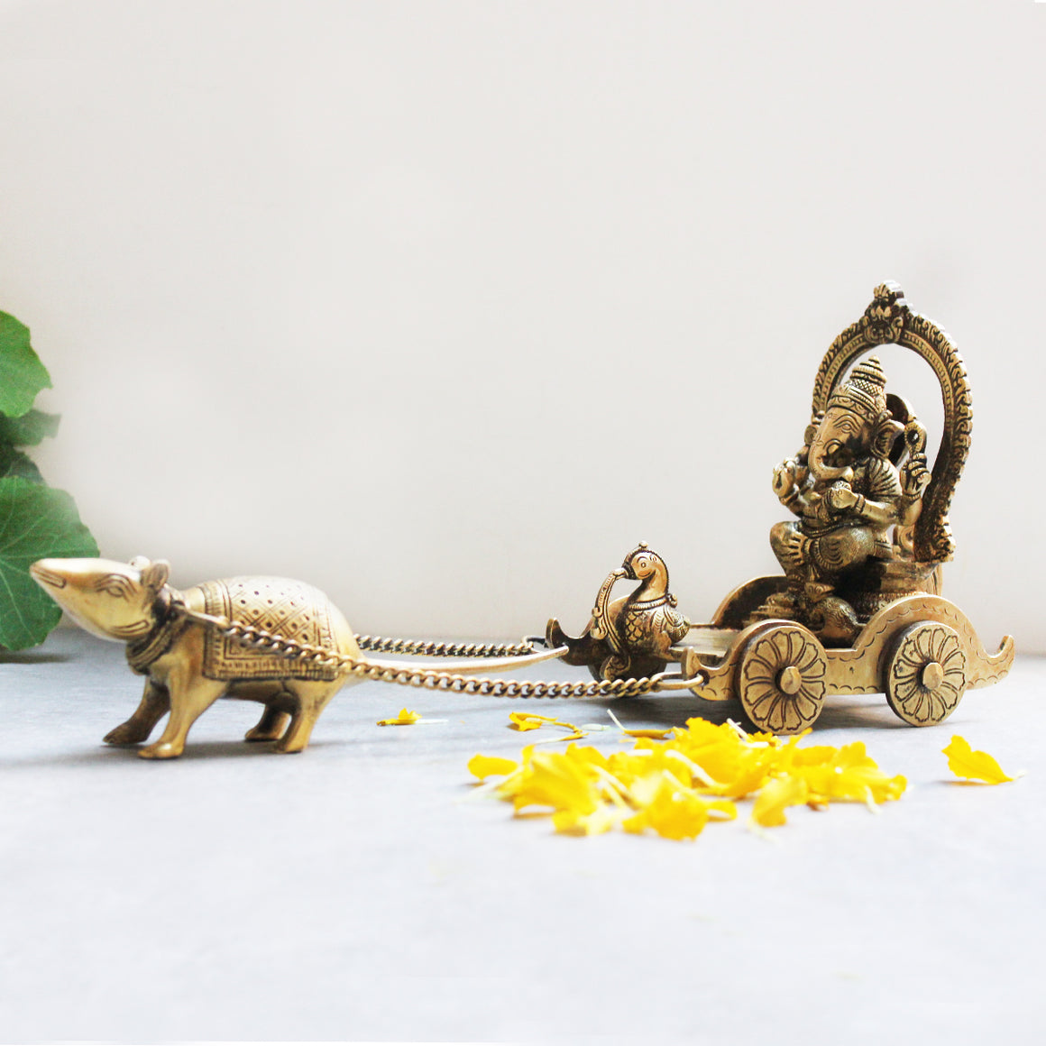 Vintage Brass Chariot Of Lord Ganesha Driven By His Vahan - The Mouse. L 36 cm x W 11 cm x Ht 16 cm