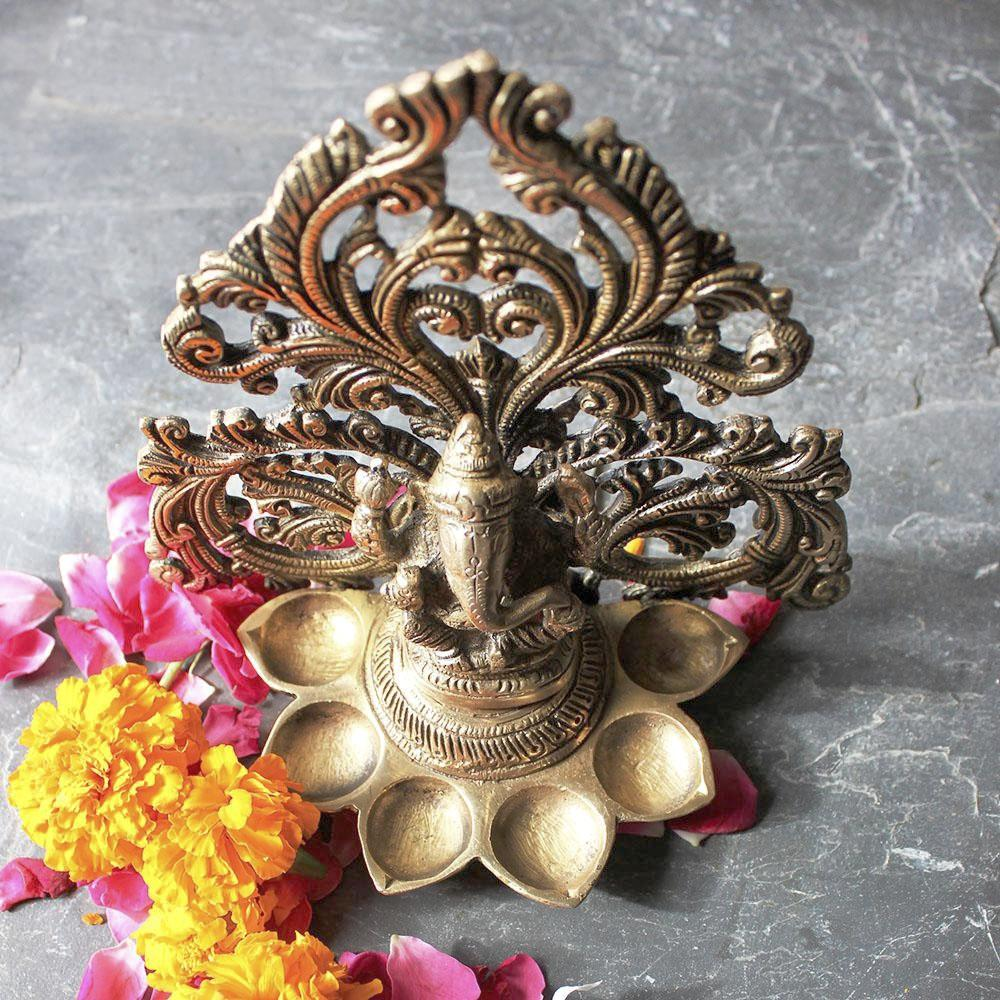 Lord Ganesha Brass Oil Lamp With 6 Diyas And A Filigree Design - Height 17 cm x Width 17 cm - theindianweave