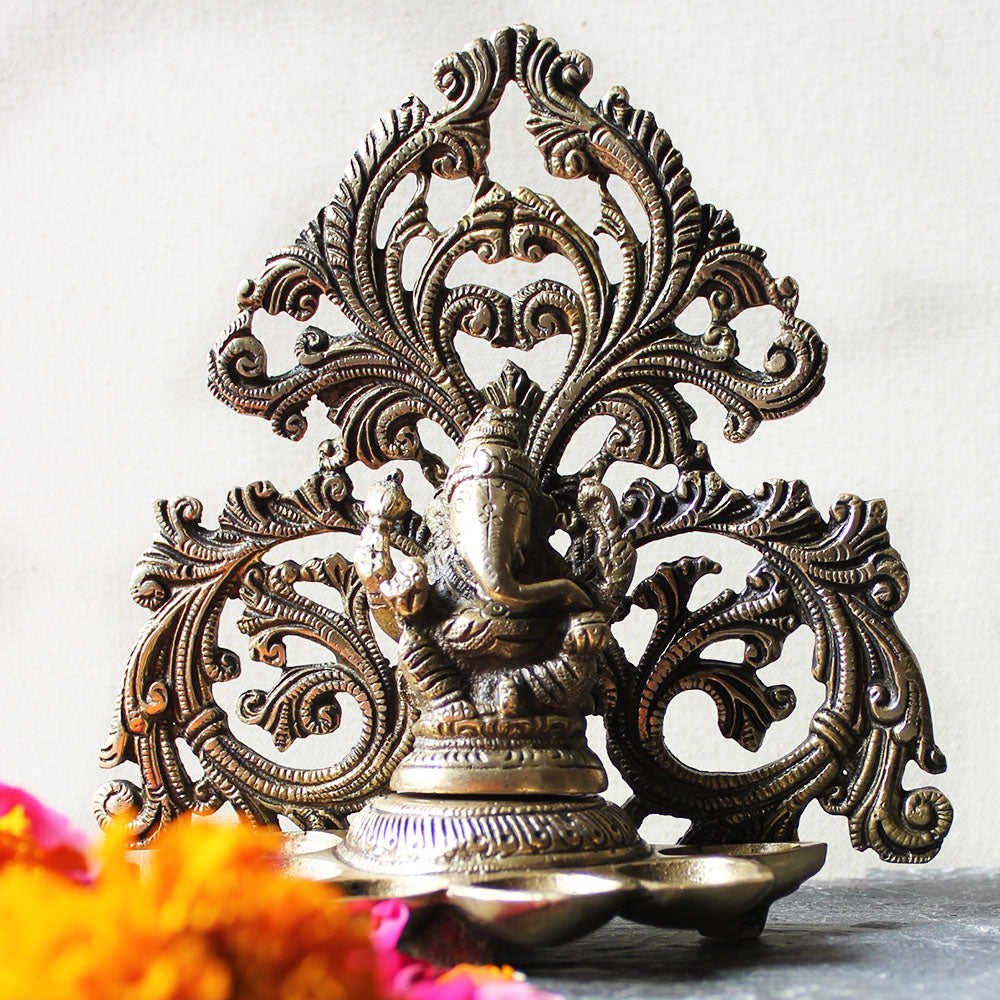 Lord Ganesha Brass Oil Lamp With 6 Diyas And A Filigree Design - Height 17 cm x Width 17 cm