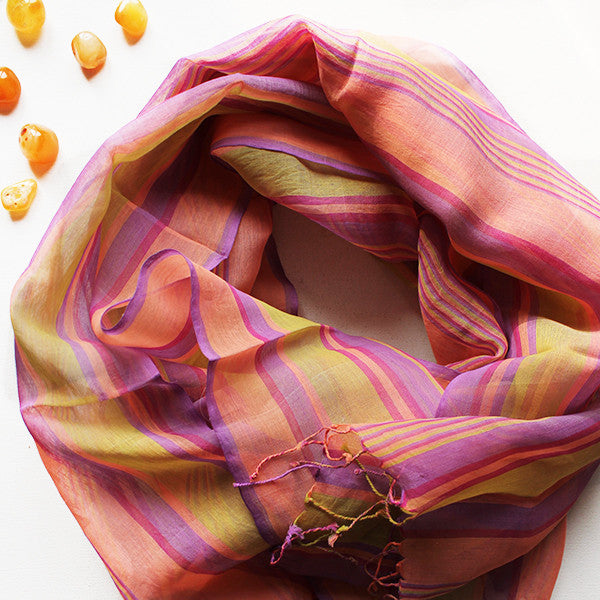 Striped Cotton Scarf in Magenta, Yellow & Pink