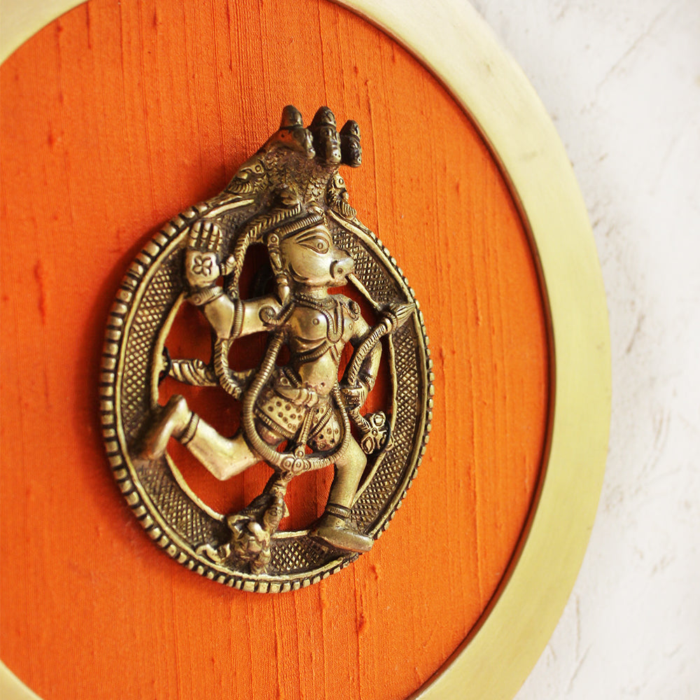 Framed Brass Plaque of Hindu Diety Hanuman & A Hooded Naag On Orange Raw Silk -  Dia 26 cm,