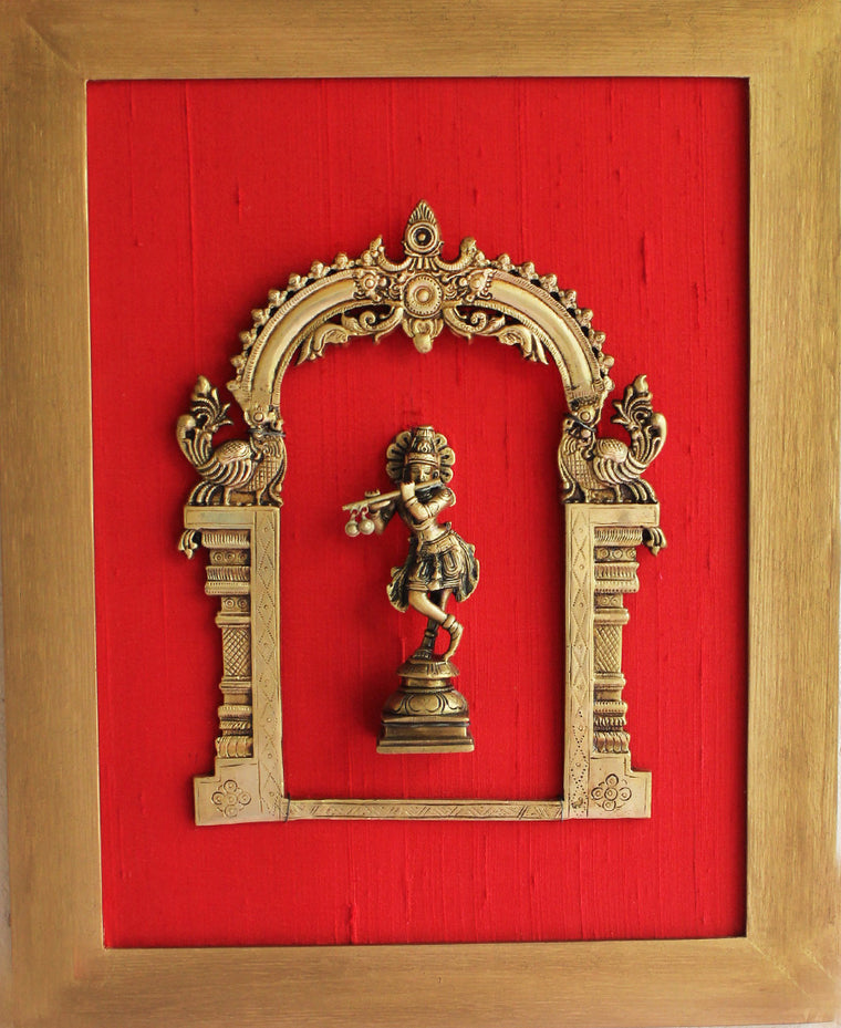 Exquisite Framed Brass Prabhavali On Red Raw Silk With Lord Krishna. Frame - Height 45 cm x Width 35 cm - theindianweave